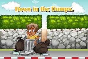 Idioom uitdrukking voor beneden in de stortplaatsen