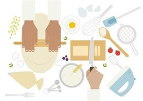 Bovenaanzicht van handen koken op tafelblad