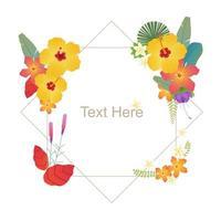 Tropische bloemen kaartsjabloon vector