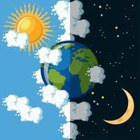 Dag en nacht op de planeet aarde