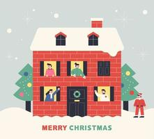 Mensen begroeten in de kersttijd vector