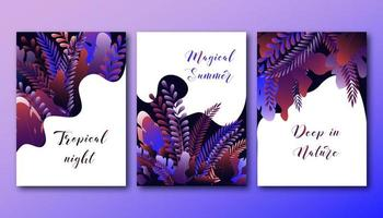 Set posters sjabloon met helder kleurverloop bos