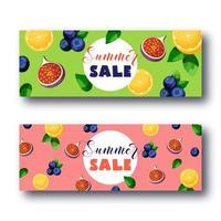 Zomer verkoop banner set met heldere kleurrijke vruchten