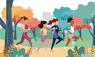 vrouwen rennen in het landschap