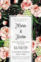 Aquarel bloemen bruiloft uitnodigingskaart vector