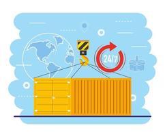 containers met kraanhaak en wereldwijde kaartservice vector