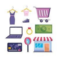 set van laptop-technologie met kleding en verkoop op de markt met creditcard en factuur