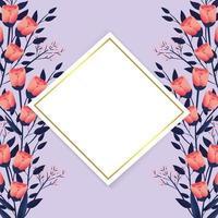 exotische bloemen met diamantlabel vector