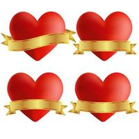 Set van hart pictogrammen met badges vector