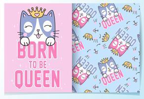 Hand getekend schattig koningin kat met patroon set