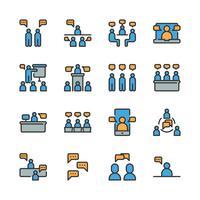 Bedrijf en mensen met spraak zeepbel pictogramserie