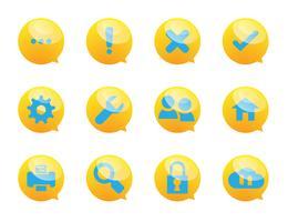 tekstballon en systeemdiensten pictogrammen