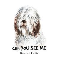 Waterverfportret van een Bearded Collie-hond