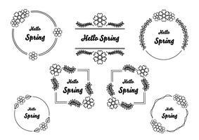 Hand getekend lente bloemen frames instellen voor branding vector