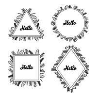 Hand getekend floral frames met Hello ingesteld voor branding vector