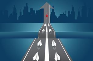 Papieren vliegtuigen concurreren op weg naar een bestemming vector