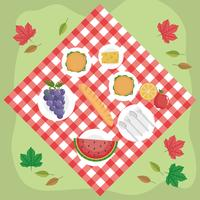 Luchtfoto van voedsel op picknickdeken