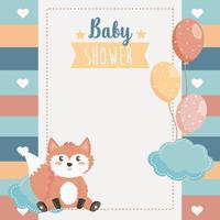 Kaart van de baby douche met fox en ballonnen vector