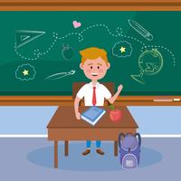 Mannelijke student voor schoolbord