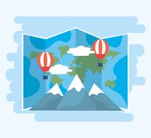 Wereldkaart met hete lucht ballonnen en bergen vector