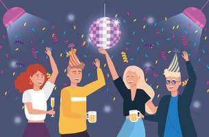 Mannen en vrouwen dansen op feestje vector