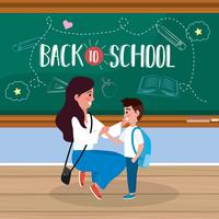 Terug naar school poster met moeder en zoon