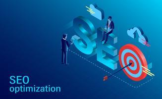 SEO-optimalisatieconcept met twee zakenmannen en doel vector