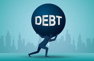 Illustratie van één bedrijfspersoon die een schuldenlast draagt