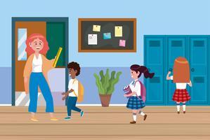 Vrouwelijke leraar met jongen en meisjesstudenten dichtbij kasten vector