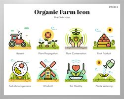 Biologische boerderij pictogrammen instellen vector