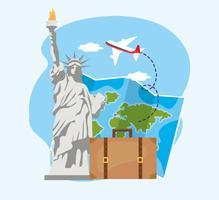 Vrijheidsbeeld met globale kaart en koffer