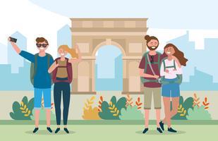 Twee toeristenparen door Arc de Triomphe vector