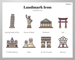 Landmark pictogrammen LineColor pack vector
