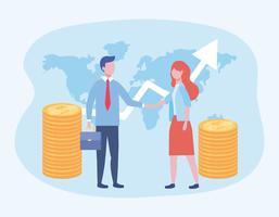 Zakenman en zakenvrouw met munten en kaart