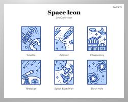 Space frame pictogrammen LineColor pack vector