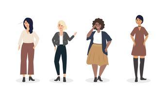 Set van jonge diverse jonge vrouwen