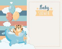 Kaart van de baby douche met tijger in vliegtuig vector