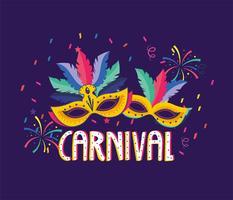 Carnaval-poster met maskers met veren vector