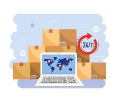 Stapel dozen met laptop en 24-uurs symbool vector