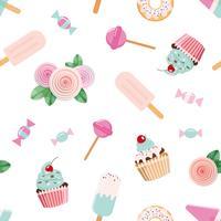 Feestelijk naadloos patroon met bloemen en snoepjes in pastel roze en blauw.
