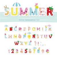 Zomer lettertype. Creatieve cartoon letters en cijfers