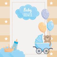 Kaart van de babydouche met teddybeer in koets
