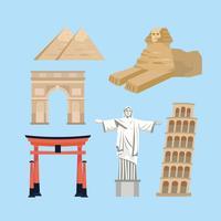 Set van avontuur vakantie reizen bestemming objecten
