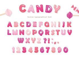 Candy glanzend lettertype ontwerp. Kleurrijke roze ABC-letters en cijfers vector