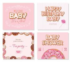 Baby shower kaarten voor meisjes. Zoete sjablonen in pastelroze. vector
