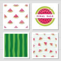 Watermeloen ontwerpelementen set. Naadloos patronen en verkooppictogram