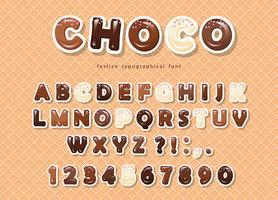 Papier uitgesneden ABC-letters en cijfers, gemaakt van verschillende soorten chocolade op de wafelachtergrond.