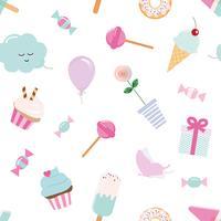 Girly naadloze patroonachtergrond met snoepjes en leuke elementen. Pastel roze en blauw.