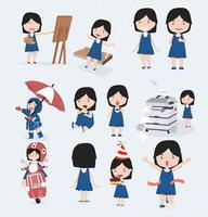 Schattig klein meisje blauwe jurk tekenset vector