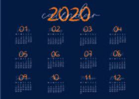 Blauw en creatief kalendersjabloon